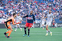 FOXBOROUGH, MA - JULY 25: James Pantemis #41 of CF Montreal comes forward to catch a ball near the CF Montreal goal during a game between CF Montreal and New England Revolution at Gillette Stadium on July 25, 2021 in Foxborough, Massachusetts.