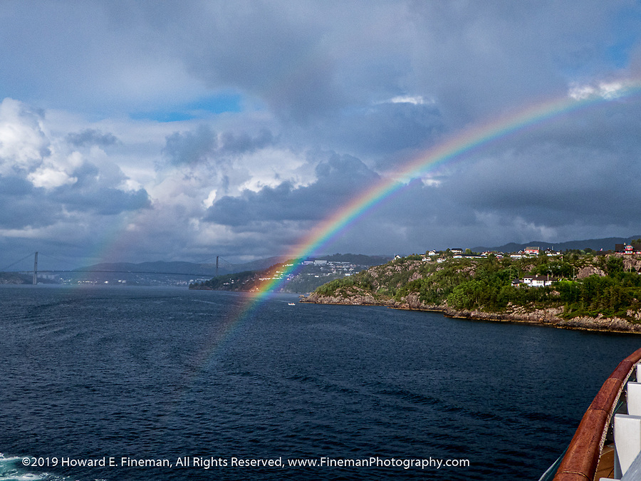 Rainbow while leaving Bergen fjord
