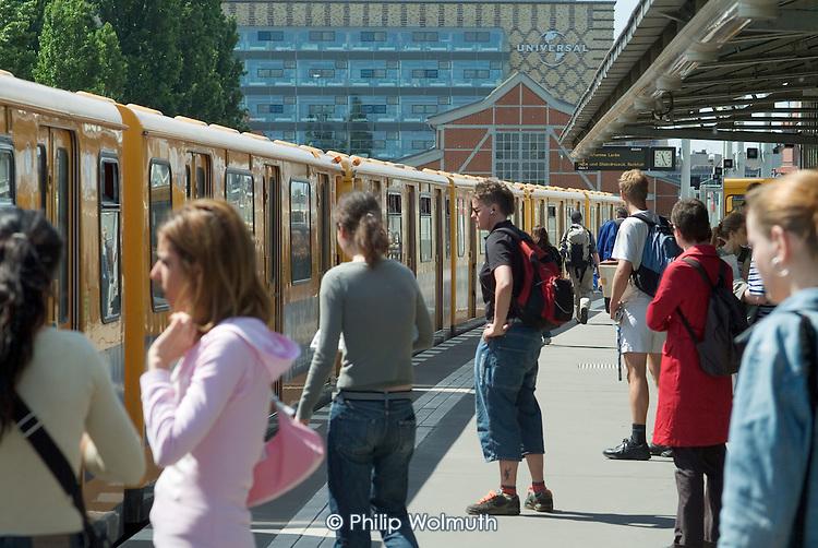 Passengers wait to board a U-Bahn train in Berlin.