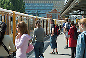 Passengers wait to board a U-Bahn train in Berlin.