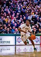 18 December 2018: University of Vermont Catamount Guard Stef Smith, a Sophomore from Ajax, Ontario, in first-half action against the St. Bonaventure University Bonnies at Patrick Gymnasium in Burlington, Vermont. The Catamounts defeated the Bonnies 83-76 in a double-overtime NCAA DI game. Mandatory Credit: Ed Wolfstein Photo *** RAW (NEF) Image File Available ***