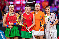 The Hague, The Netherlands, Februari 8, 2020,    Sportcampus, FedCup  Netherlands -  Balarus, Doubles: Bertens/Schuurs (NED) (R)  vs Sabalenka/Sasnovich (BLR)<br /> Photo: Tennisimages/Henk Koster
