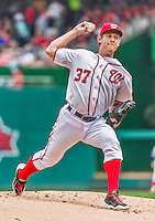 30 August 2015: Washington Nationals pitcher Stephen Strasburg on the mound against the Miami Marlins at Nationals Park in Washington, DC. The Nationals rallied to defeat the Marlins 7-4 in the third game of their 3-game weekend series. Mandatory Credit: Ed Wolfstein Photo *** RAW (NEF) Image File Available ***