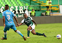 PALMIRA - COLOMBIA, 27-10-2018: Carlos Carbonero (Der) jugador de Deportivo Cali en acción durante el encuentro con Jaguares de Córdoba por la fecha 17 de la Liga Águila II 2017 jugado en el estadio Palmaseca de la ciudad de Palmira. / Carlos Carbonero (R) player of Deportivo Cali in action during the match against Jaguares de Cordoba for the date 17 of the Aguila League II 2017 played at Palmaseca stadium in Palmira city.  Photo: VizzorImage/ Nelson Rios / Cont
