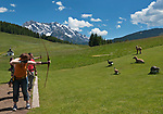 Oesterreich, Salzburger Land, Pinzgau, zwischen Maria Alm und Hinterthal: Bogenparcours am Berggasthof Jufenalm | Austria, Salzburger Land, near Maria Alm: Pinzgau, archery shooting range at mountain inn Jufenalm