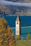 Italy, South-Tyrol, Alto Adige, Val Venosta, Old-Graun at Reschen passroad, submerged at Reschen Lake, dammed 1949/1950