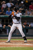 Adley Rutschman (36) of the Norfolk Tides at bat against the Charlotte Knights at Truist Field on August 19, 2021 in Charlotte, North Carolina. (Brian Westerholt/Four Seam Images)