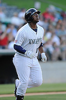 Designated hitter Mike McDade (17) of the Charlotte Knights in a game against the Columbus Clippers on Saturday, June 15, 2013, at Knights Stadium in Fort Mill, South Carolina. Columbus won, 4-2. (Tom Priddy/Four Seam Images)