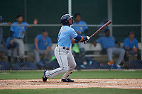 Tampa Bay Rays Wander Franco (4) bats during a Minor League Spring Training game against the Baltimore Orioles on March 16, 2019 at the Buck O'Neil Baseball Complex in Sarasota, Florida.  (Mike Janes/Four Seam Images)