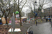 General view of the makeshift camp during a protest against the construction of the HS2 railway line at Euston Square Gardens on 27th January 2021