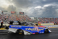 Mar. 9, 2012; Gainesville, FL, USA; NHRA funny car driver Bob Tasca III during qualifying for the Gatornationals at Auto Plus Raceway at Gainesville. Mandatory Credit: Mark J. Rebilas-