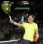 March 27 2017: Malek Jaziri (TUN) loses to Stanislas Wawrinka (SUI) 6-3, 6-4, at the Miami Open being played at Crandon Park Tennis Center in Miami, Key Biscayne, Florida. ©Karla Kinne/tennisclix/EQ