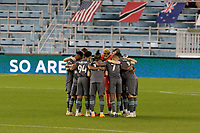 ST PAUL, MN - NOVEMBER 4: Minnesota United FC huddle during a game between Chicago Fire and Minnesota United FC at Allianz Field on November 4, 2020 in St Paul, Minnesota.