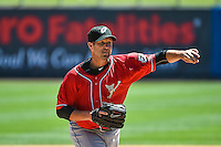 El Paso Chihuahuas starting pitcher Jason Lane (25) delivers a pitch to the plate against the Salt Lake Bees in Pacific Coast League action at Smith's Ballpark on July 26, 2015 in Salt Lake City, Utah. El Paso defeated Salt Lake 6-3 in 10 innings. (Stephen Smith/Four Seam Images)