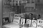 Reflections in a Barber's shop window Trenton, New Jersey, USA 1969.