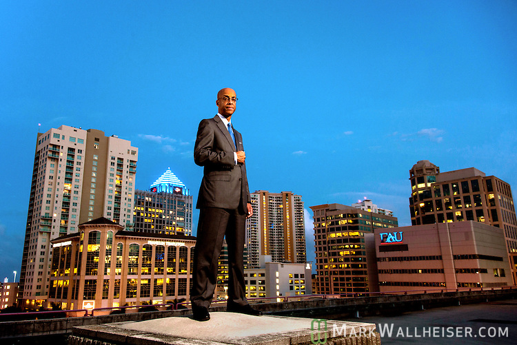 The Ft Lauderdale skyline looms behind attorney Eugene Pettis in Ft. Lauderdale, Floida  April  11, 2013.  Pettis is the incoming president of the Florida Bar.