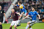 Hearts v St Johnstone…26.01.19…   Tynecastle    SPFL<br />Murray Davidson gets above Ollie Bozanic<br />Picture by Graeme Hart. <br />Copyright Perthshire Picture Agency<br />Tel: 01738 623350  Mobile: 07990 594431