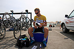 Omega Pharma-Quick Step rider race leader Tom Boonen (BEL) polishes his shoes before the start of Stage 4 of the 2012 Tour of Qatar from Al Thakhira to Madinat Al Shamal, Qatar. 8th February 2012.<br /> (Photo Eoin Clarke/Newsfile)