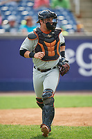 Frederick Keys catcher Alex Murphy (36) during the second game of a doubleheader against the Wilmington Blue Rocks on May 14, 2017 at Daniel S. Frawley Stadium in Wilmington, Delaware.  Wilmington defeated Frederick 3-1.  (Mike Janes/Four Seam Images)
