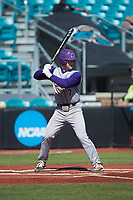 Justice Bigbie (7) of the Western Carolina Catamounts at bat against the Kennesaw State Owls at Springs Brooks Stadium on February 22, 2020 in Conway, South Carolina. The Owls defeated the Catamounts 12-0.  (Brian Westerholt/Four Seam Images)