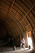 Xingu Indigenous Park, Mato Grosso State, Brazil. Aldeia Yawalapiti. Interior of traditional oca house.