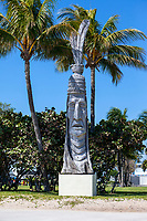 Ft. Lauderdale, Florida.Indian Head Sculpture by Peter Wolf Toth, completed 1983.  One of his Whistering Giants series, representing a composite of all the native people of each state.