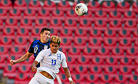 GUADALAJARA, MEXICO - MARCH 28: Aaron Herrera #17 of the United States and Luis Palma #13 of Honduras battle in the air during a game between Honduras and USMNT U-23 at Estadio Jalisco on March 28, 2021 in Guadalajara, Mexico.