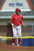 Williamsport Crosscutters left fielder Jesus Alastre (5) leads off first base during a game against the Batavia Muckdogs on September 2, 2016 at Dwyer Stadium in Batavia, New York.  Williamsport defeated Batavia 9-1. (Mike Janes/Four Seam Images)