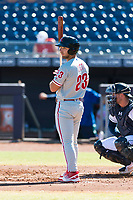 Scottsdale Scorpions left fielder Austin Listi (23), of the Philadelphia Phillies organization, at bat during an Arizona Fall League game against the Peoria Javelinas at Peoria Sports Complex on October 18, 2018 in Peoria, Arizona. Scottsdale defeated Peoria 8-0. (Zachary Lucy/Four Seam Images)