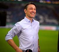 18.04.2018, Football DFB Pokal 2017/2018, semi final , FC Schalke 04 - Eintracht Frankfurt, in Veltins Arena auf Schalke. Trainer Niko Kovac (Eintracht Frankfurt)  TV-Interview.  *** Local Caption *** © pixathlon<br /> <br /> Contact: +49-40-22 63 02 60 , info@pixathlon.de