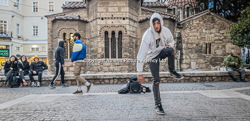 Pictured: Street dancers.<br /> Re: Street photography, Athens, Greece. Thursday 27 February 2020