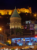 Wachtang-Gorgasali Platz mit Burg Narikala und armenischer Kathedrale St. Georg, Tiflis – Tbilissi, Georgien, Europa<br /> Wachtang Gorgasali-square, fortress Narikala and Armenian Cathedral St. George, Tbilisi, Georgia, Europe<br /> <br /> Wachtang Gorgasali-Platz, fortress Narikala and Armenian Cathedral St. George, Tbilisi, Georgia, Europe
