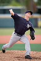 GCL Yankees East relief pitcher Keegan Curtis (7) delivers a pitch during the second game of a doubleheader against the GCL Pirates on July 31, 2018 at Pirate City Complex in Bradenton, Florida.  GCL Pirates defeated GCL Yankees East 12-4.  (Mike Janes/Four Seam Images)