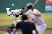 Starting pitcher Tyler Brown (10) of the Asheville Tourists in a game against the Greenville Drive on Tuesday, June 1, 2021, at Fluor Field at the West End in Greenville, South Carolina. (Tom Priddy/Four Seam Images)