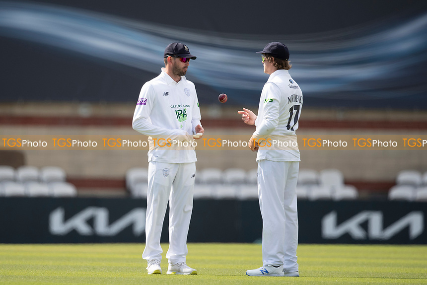 Ian Holland (L) and Sam Northeast during Surrey CCC vs Hampshire CCC, LV Insurance County Championship Group 2 Cricket at the Kia Oval on 30th April 2021