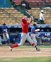 Warming Bernabel participates in the MLB International Showcase at Estadio Quisqeya on February 22-23, 2017 in Santo Domingo, Dominican Republic.