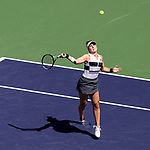 March 17, 2019: Bianca Andreescu (CAN) in action where she defeated Angelique Kerber (GER) 6-4, 3-6, 6-4 in the finals of the BNP Paribas Open at the Indian Wells Tennis Garden in Indian Wells, California. ©Mal Taam/TennisClix/CSM