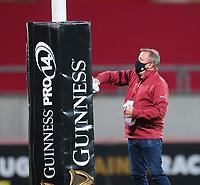 10th October 2020; Thomond Park, Limerick, Munster, Ireland; Guinness Pro 14 Rugby, Munster versus Edinburgh; Ground crew sanitise the goal post prior to kickoff