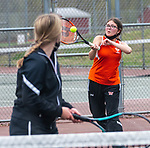 WOLCOTT, CT 050821JS21—Watertown's Lira Cenka returns a shot as her doubles partner Emalyn Osborne looks on during their match with Wolcott's Jenna Marciano and Erjona Zhuta in their NVL match-up Saturday at Wolcott High School. <br /> Jim Shannon Republican American