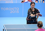 Toronto, ON - Aug 10 2015 -  Stephanie Chan competes in the Women's Singles Class 6-7 Group A in the ATOS Markham Parapan Centre during the Toronto 2015 Parapan American Games  (Photo: Matthew Murnaghan/Canadian Paralympic Committee)