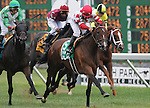 1 August 10: Unbridled Essence and jockey Paco Lopez score a 41-1 upset in the Taylor Made Matchmaker Stakes on Haskell Invitational Day at Monouth Park in Oceanport, New Jersey