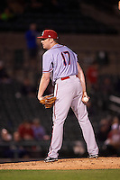 Syracuse Chiefs relief pitcher Sam Runion (17) looks in for the sign pitch during a game against the Rochester Red Wings on July 1, 2016 at Frontier Field in Rochester, New York.  Rochester defeated Syracuse 5-3.  (Mike Janes/Four Seam Images)