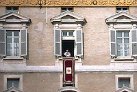Pope Benedict XVI leads the Angelus prayer from the window of his appartmnents on February 17, 2013 at the Vatican.
