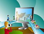 Illustration of online property hunt