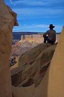 Exploring sandstone formations, Charma Basin, New Mexico