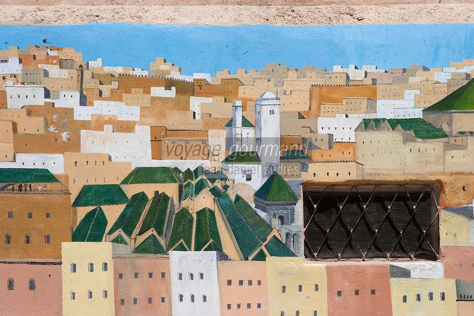 Afrique/Afrique du Nord/Maroc/Fèz: Dans la médina mur peint représentant la médina de Fèz et ses mosquées