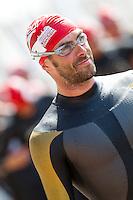 31 JUL 2011 - LONDON, GBR - Marc Jenkins waits for the start of the Elite Men's race at the Virgin Active London Triathlon .(PHOTO (C) NIGEL FARROW)