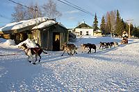Ramy Brooks Team Runs Down Road Out of Nikolai Chkpt 2005 Iditarod