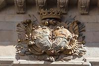 Espagne, Navarre, Pampelune: Palacio Guendulain est un des bâtiments les plus emblématiques de Pampelune, situé dans la vieille ville, Plaza del Consejo , c'est maintenant un Hôtel de charme/, Détail blason   Spain, Navarre, Pamplona:  Palacio Guendulain is one of the most prominent buildings in Pamplona, located in the old part of town, Square: Plaza del Consejo , it is now acharming hotel, BLason detail