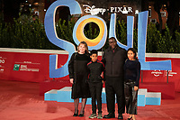 """British director, screenwriter, film producer and visual artist Steve McQueen (2ndR) poses with his family on the red carpet for the screening of the film """"Soul"""" during the 15th Rome Film Festival (Festa del Cinema di Roma) at the Auditorium Parco della Musica in Rome on October 15, 2020.<br /> UPDATE IMAGES PRESS"""
